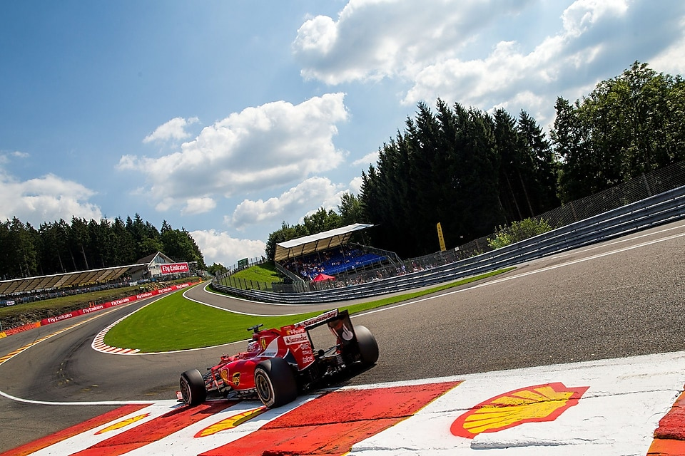 Sebastian Vettel of Germany and Ferrari drives during practice for the Formula One Grand Prix of Belgium at Circuit de Spa-Francorchamps